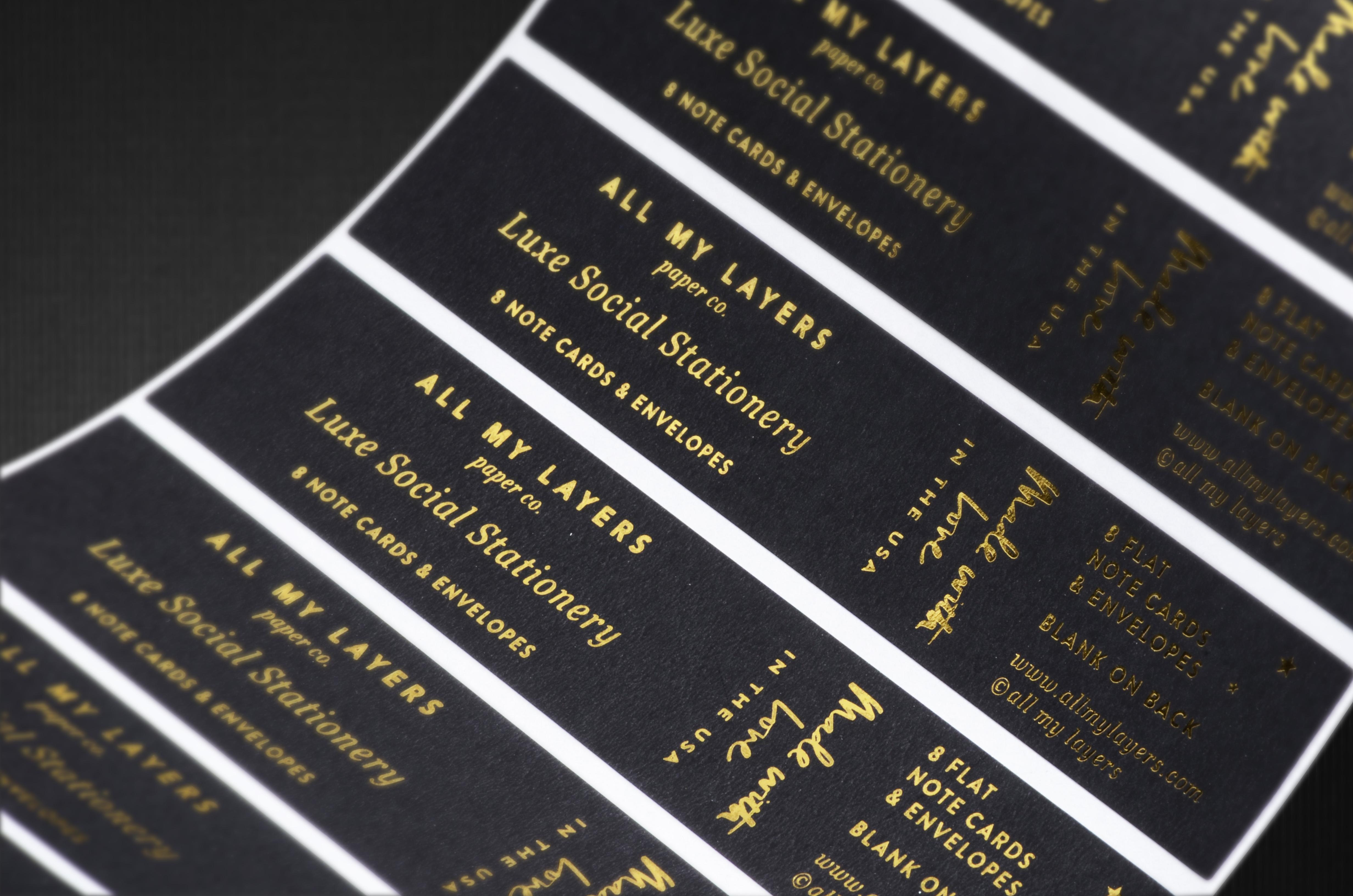 Custom foil stamped labels